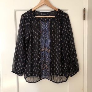 Lucky Brand sheer boho paisley blouse